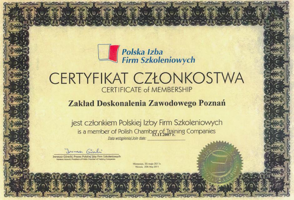Certyfikatr członkowstwa – Polska Izba Firm Szkoleniowych
