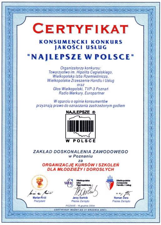 """Certyfikat """"Najlepsze w Polsce"""""""