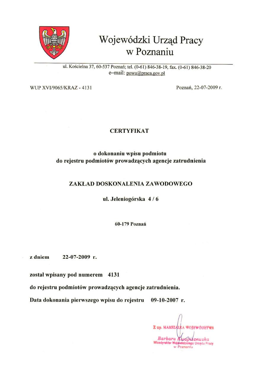 Certyfikat o dokonaniu wpisu podmiotu do rejestru podmiotów prowadzących agencje zatrudnienia